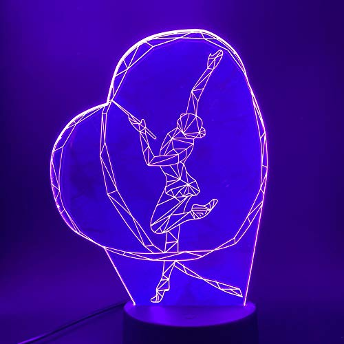Sanzangtang Led-nachtlampje, 3D-visionzeven, kleuren-afstandsbediening, gymnastiek, ribbon, dance girl, nachtlampje, kleurschakelaar, nachtlampje, babykamer, nachtlampje, fakkel