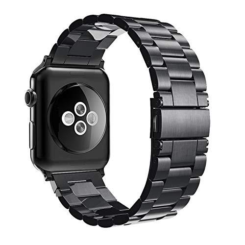 Simpeak Armband Kompatibel mit Apple Watch 38mm 40mm, Edelstahl Uhrenarmband Ersatz Armbänder mit Metallschließe Kompatibel für Apple Watch Series 5/4/3/2/1 - Schwarz