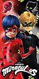 Chat Noir Drap de Plage Ladybug Serviette de Bain Miraculous 100% Coton 140x70 cm