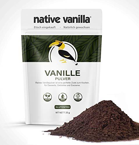 Native Vanilla - Vanillepulver - 100% reines gemahlenes Vanillepulver - Für Köche und hausgemachtes Backen, Eiscreme, Kaffee - Ketofreundlich (25 g)