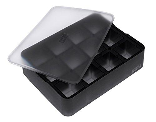 Lurch 240710 Moule à glaçons 100 % silicone platine sans BPA avec couvercle pour 12 glaçons (4 x 4 cm) Noir