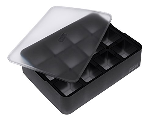 Lurch 240710 Ice Former Cubes / Eisbereiter aus 100% BPA-freiem Platin Silikon mit Deckel für 12 Eiswürfel (4 x 4 cm), Schwarz