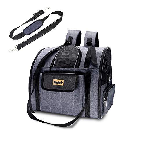 Karinear Tragetasche für Haustiere, tragbarer Rucksack für Katzen und kleine Hunde, abnehmbare Matte und atmungsaktives Netz mit Schultergurt und reflektierendem Streifen für Reisen, Camping