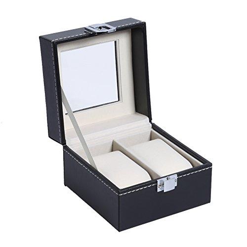Prosperveil High–End Armbanduhr Fall PU Watch Display Box Geschenk-Box transparent Cover Watch, 2 bits