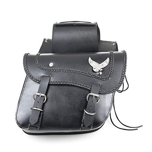 Hells-Design - Alforjas para motocicleta Custom (piel, emblema metálico de un águila)
