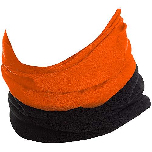 My Berg Multifunktionstuch mit Fleece Warm Bandana Schlauchschal Motorrad Fahrrad Halstuch Kopftuch Gesichtsmaske Mundschutz Damen Herrn Stirnband Winter Orange
