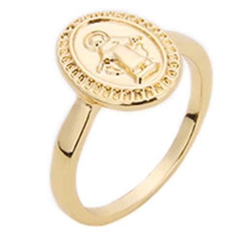 qindegong - Anillos Redondos para Mujer, diseño de círculos de la Virgen María (None 9 Golden 9)