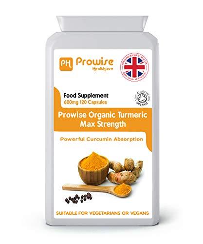 Kurkuma curcumine met zwarte peper 600 mg, 120 capsules (4 maanden voorraad) | Hoge sterkte capsules met maximale absorptie | Geschikt voor vegetariërs en veganisten | Gemaakt in het VK door Prowise Healthcare