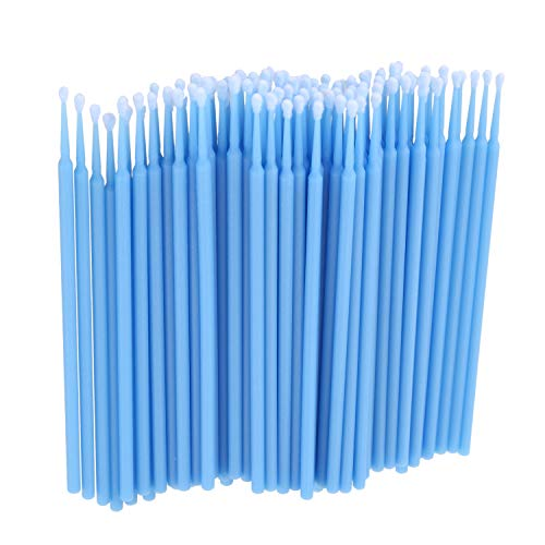 WOVELOT 100 Pieces Micro-Brosse Dentaire Materiaux Jetables Applicateurs de Dents Moyen Fine (bleu clair)