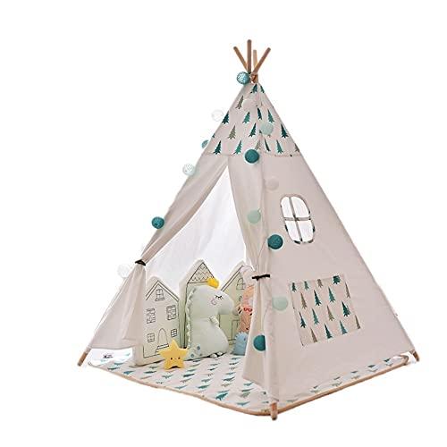 BBZY Tenda for Bambini Pieghevole Play Tent Tenda for Bambini Tende for Bambini for Ragazze & Ragazzi Parte di Rinforzo con Tappetino da Terra, luci a Stelle (Color : B)
