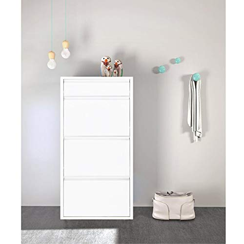 VAVENZA Metal Modern Shoe Cabinet - Shoe Rack Storage Organizer, Entryway Harding Cabinet with Extra Top Drawer for Accessories (White)