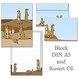Suricatos - 1 bloc de notas DIN A5 a rayas + 15 sobres C6...