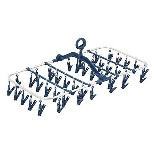 天馬 洗濯物ハンガー ポーリッシュ 軽くて丈夫なアルミ角ハンガー ピンチ42個付き ネイビー 約27×69×37cm PL-28