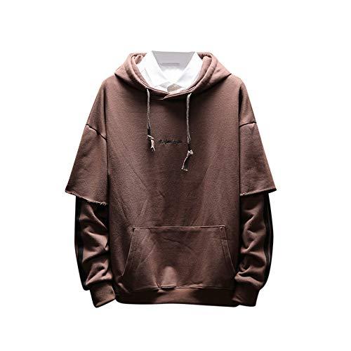 KPILP Sweatshirt Herren Lose Hoodie Herbst Winter Plus Größe S-5XL Warm Langarm Pocket Patchwork Spleißen Oberteile Bluse(Kaffee, XL)