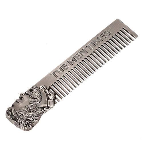 Peigne à barbe pour hommes - Outil de modélisation de la mode pour hommes, parfait pour les cheveux à la barbe et à la tête, peigne de poche pour barbes et moustaches, mains antiadhésives en acier ino
