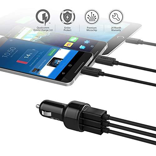 AUKEY Quick Charge 3.0 Auto Ladegerät 42W Kfz Ladegerät für Samsung Galaxy S8 / Note 8 / 7, LG G5 / G6, HTC 10, iPad Air / Pro, iPhone X / 8 / 8 Plus / 7 usw.