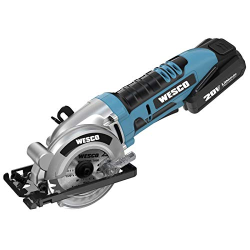 Cordless Circular Saw, WESCO 20V 3-3/8'' Mini Saw with 2.0Ah Lithium-Ion Battery and 1H Charger, MAX Cutting Depth 1-1/8', Parallel Guide and Hex Key /WS2978U
