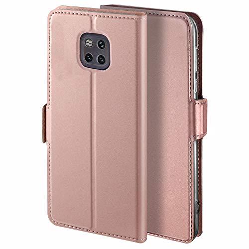 YATWIN Handyhülle für Huawei Mate 20 Pro Hülle Leder Premium Tasche Hülle für Huawei Mate 20 Pro, Schutzhüllen aus Klappetui mit Kreditkartenhaltern, Ständer, Magnetverschluss, Rose Gold
