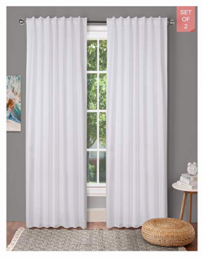 Tab Top Curtains,Farm House Curtain,Cotton Curtains,Curtain 2 Panel Sets,Window Curtain Panel in Textured Cotton 50x96 White,Reverse Window Panels,Curtain Drapes Panels,Bedroom Curtains,Set of 2
