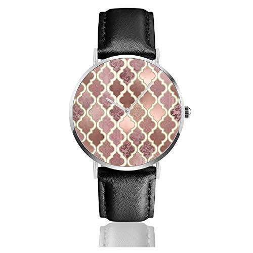 Rosegold Pink und Kupfer marokkanische Fliesen Comforters Lederarmband Armbanduhr Casual Classic Edelstahl Quarz Business Uhr