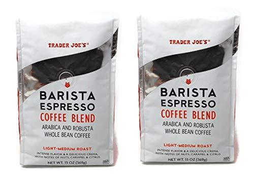 Trader Joes Whole Bean Barista Espresso Coffee Blend - Pack of 2 Bags - 13 oz Per Bag - Light Medium Roast - Arabica and Robusta Coffee