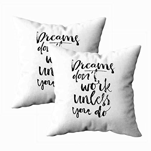 Juego de 2 fundas de almohada para exteriores, 45,7 x 45,7 cm, con frase «Make Dreams Happen», diseño caligráfico, para decoración del hogar, fundas de almohada con cremallera para sofá o sofá
