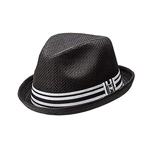 Peter Grimm Depp Natural Straw Fedora - Black (L/XL)