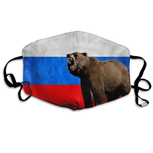 Bärenfahne Russland Russische Flagge Männer Frauen Atmungsaktiv Komfortable Gesichtsschutzhülle mit Gummiband für die persönliche Gesundheit Verschiedene Anwendungen