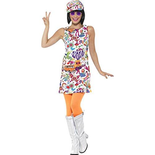 Smiffy's Smiffys-44911M Disfraz Buena Onda años 60 para Chica, con Vestido y Sombrero, Multicolor, M - EU Tamaño 40-42 44911M