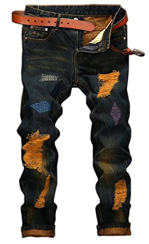 Moxishop Herren Baumwolle Neue Klassische Mode Plissee Stickerei Trend Casual Hosen Retro Loch Stein Waschen Farbe Jogging Stovepipe Gerade Jeans (38W, Blau)