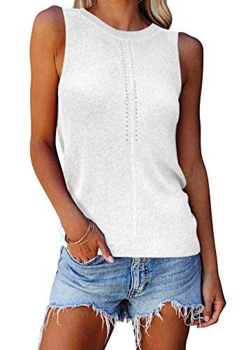 Womens Sweater Tank Tops Summer Loose Fit Color Block Sleeveless Knit Tops S