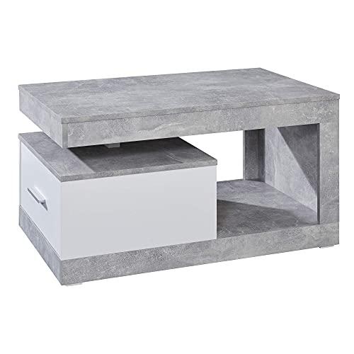 trendteam smart living Table Basse de Salon avec Beaucoup d'Espace de Rangement, béton/Blanc, 90 x 48 x 96 cm