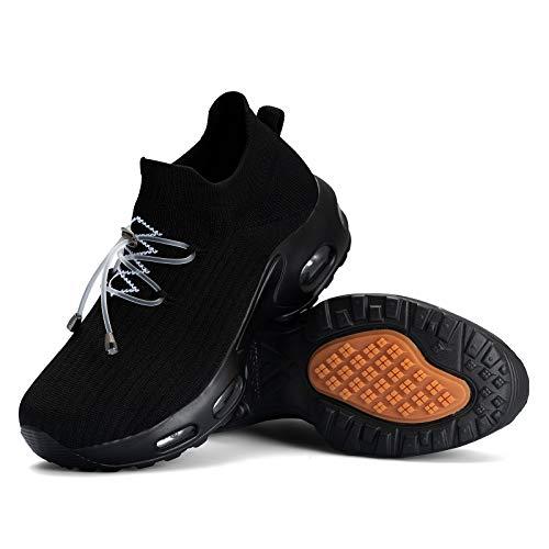Mishansha Zapatos Deportivos Mujer Zapatillas de Deporte para Correr Running Antideslizante Gimnasio Bambas Negro A N, Gr.38 EU