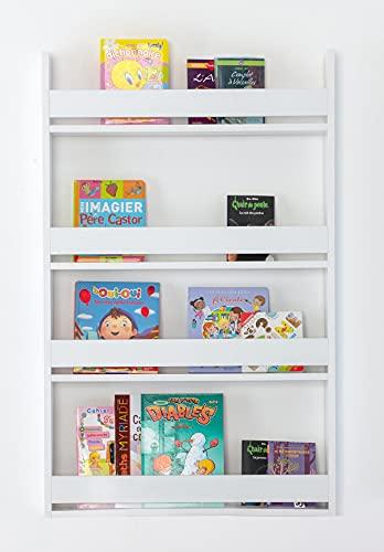 Bibliothèque Etagère Murale Enfant, Bibliothèque Livre Enfant Blanc , Bois MDF de première qualité (Blanc), 120 x 75 x 10 cm