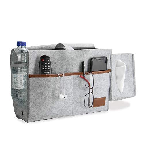 Bett Lager Veranstalter | Hängende Aufbewahrungstasche mit Tissue Box & Flaschenhalter | Dicker Filz-Caddy für Telefon, Tablet, Zeitschriften & Fernbedienung | Pukkr