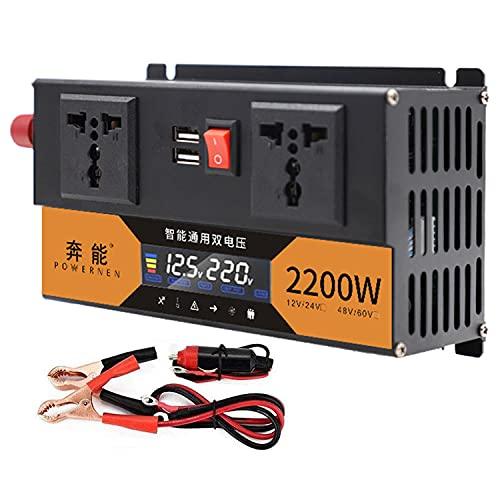 Inversor de corriente sinusoidal puro para coche, 12 V-24 V a 230 V, 2200 W, 2600 W, 3200 W, con 2 enchufes europeos y 2 puertos USB (2200 W)