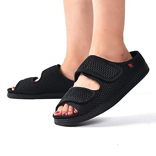 CYN Edema de Edad Avanzada, Zapatos diabéticos Diabetes Sneaker Médico Ortopedics Suave húmedo Antideslizante Viento Grande para Hombre y Mujeres-Negro_39EU