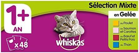 Whiskas Sélection Mixte en Gelée Nourriture Humide pour Chat Adulte Alimentation Complète en Sachets Fraîcheur, 48 x 100g