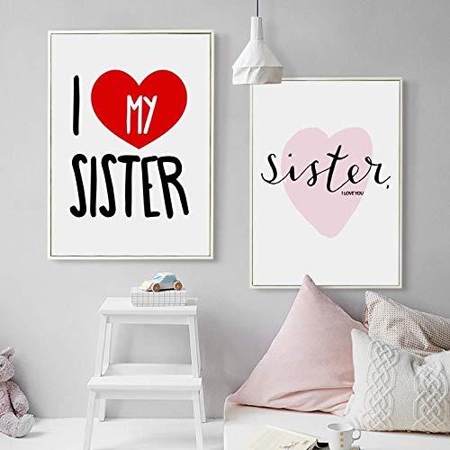 Non-Branded KBIASD I Love My Sister Zitat auf Leinwand, niedlicher Kunstdruck für Zwillingszimmer, Mädchenzimmer, moderne Wanddekoration, 5070 cm, ungerahmt, 2 Stück