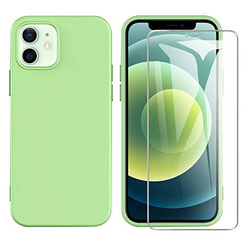 ARRYNN Coque Compatible avec iPhone 12 avec iPhone 12 Pro 6.1 Pouces,et 1 Film Protection écran en Verre trempé, Housse TPU Silicone Liquide Flexible-Vert