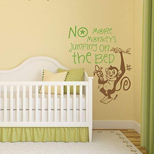 No More Monkey Jumping on The Bed Kids Wall Decal - Wall Sticker