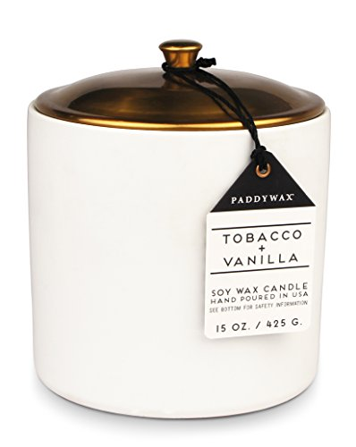 Paddywax Candles HY1502Z Hygge Collection Scented Candle, 15-Ounce, Tobacco + Vanilla