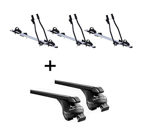 VDP 3X Fahrradträger SAGITTAR + Relingträger Quick Stahl L kompatibel mit Porsche Macan ab 2015