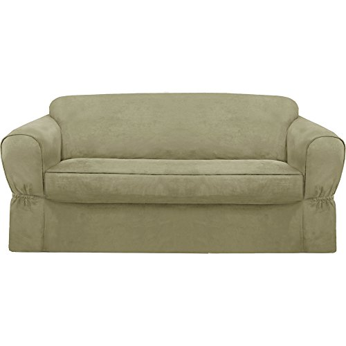 MAYTEX Piped Suede 2-Piece Sofa Furniture Cover/Slipcover, Sage