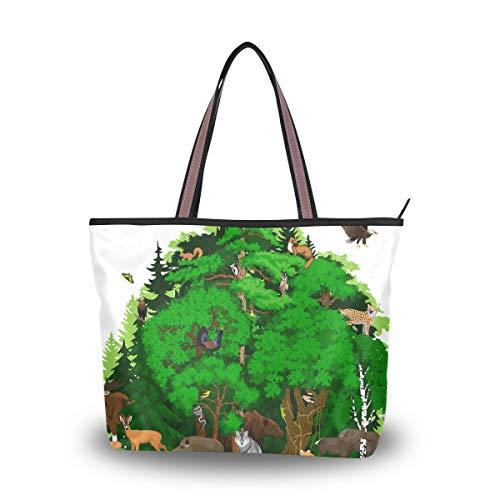 Ahomy - Bolso bandolera con diseño de bosque con animales y árbol...