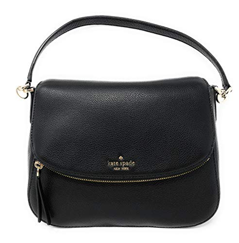 Kate Spade New York Jackson Soft Pebbled Leather Medium Flap Shoulder bag (Black)
