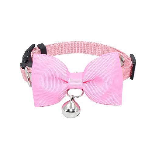 Olahibi Katzenhalsband, handgefertigt, Fliege, durchsichtiges Glöckchen, Nylon-Material, für Kätzchen (XS, Pink)