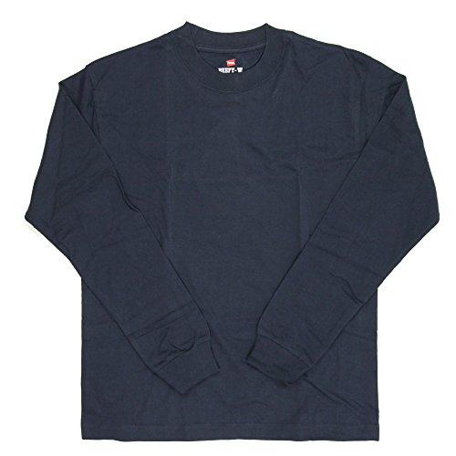 [ヘインズ] ビーフィー ロングスリーブ Tシャツ ロンT 長袖 1枚組 BEEFY-T 綿100% 肉厚生地 無地 H5186 メンズ ネイビー M