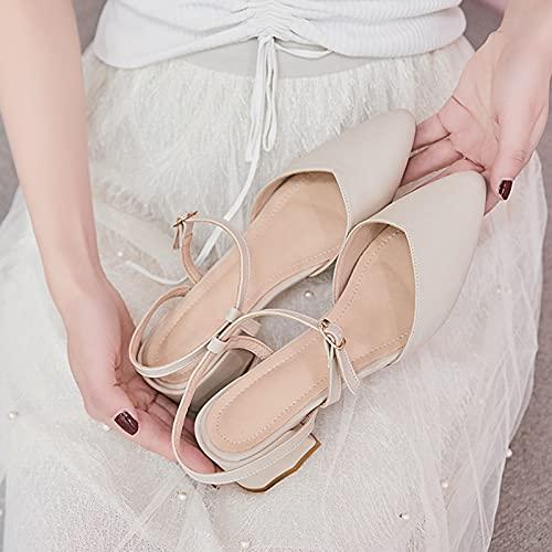 Zapatos Casuales para Mujer, Zapatos Individuales Huecos Franceses Sandalias con Puntera De Tacón Grueso Cómodas Transpirables Antideslizantes Resistentes Al Desgaste,Apricot,37