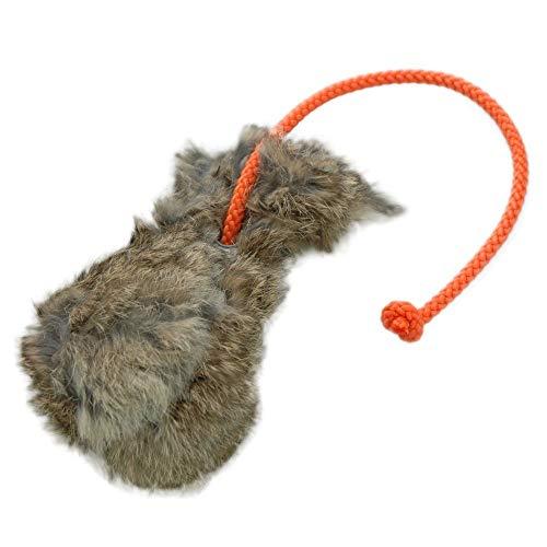 Dummyball mit Kaninchenfell   Robustes Materiel   Schwimmfähig   Extra langes Wurfseil   Ideal für das Apportiertraining   Schult die Such- und Markierfähigkeit